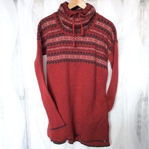 Eddie Bauer Fair Isle Sweater L Red Tunic Cotton